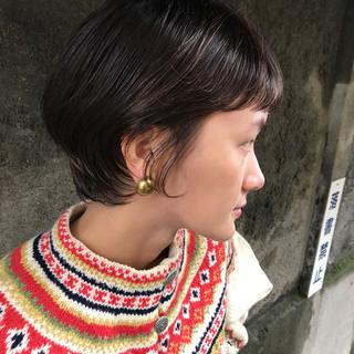 透明感 デート 黒髪 ショート ヘアスタイルや髪型の写真・画像