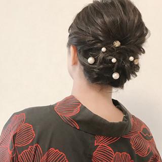 ヘアアレンジ 夏 お祭り エレガント ヘアスタイルや髪型の写真・画像