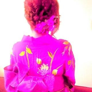 涼しげ セミロング 花火大会 和装 ヘアスタイルや髪型の写真・画像