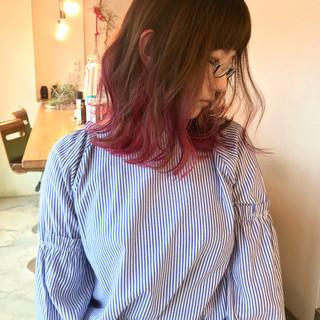 ピンク ロブ ストリート ミディアム ヘアスタイルや髪型の写真・画像