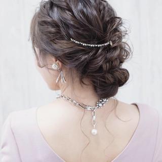 まとめ髪 大人女子 結婚式 エレガント ヘアスタイルや髪型の写真・画像