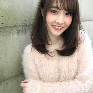 前髪あり 冬 パーマ ミディアム ヘアスタイルや髪型の写真・画像