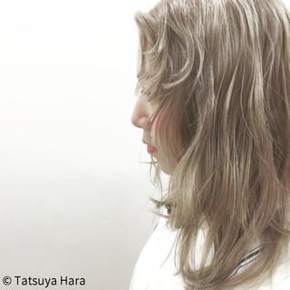 アッシュ セミロング グラデーションカラー ガーリー ヘアスタイルや髪型の写真・画像