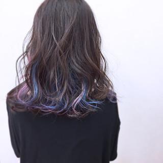 ロブ ミディアム 暗髪 アンニュイ ヘアスタイルや髪型の写真・画像