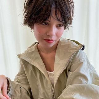 ベリーショート ゆるふわパーマ ミニボブ ショートヘア ヘアスタイルや髪型の写真・画像
