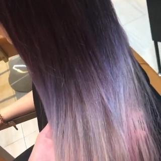 ロング グラデーションカラー ストリート 前髪パッツン ヘアスタイルや髪型の写真・画像