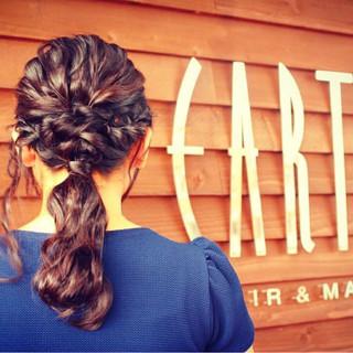 ミディアム ハーフアップ 編み込み ショート ヘアスタイルや髪型の写真・画像