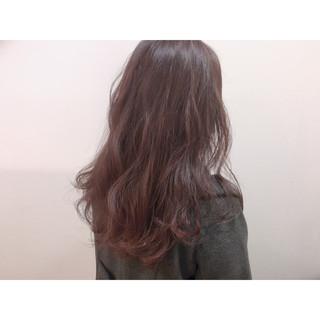 ロング ラベンダーピンク ナチュラル フェミニン ヘアスタイルや髪型の写真・画像