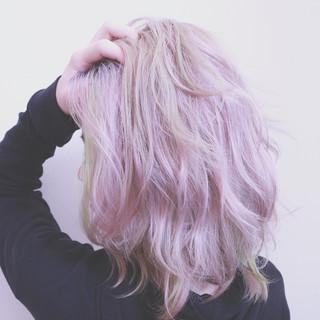 グラデーションカラー ピンク バレイヤージュ ボブ ヘアスタイルや髪型の写真・画像