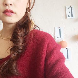 波ウェーブ 編み込み ロング ピンク ヘアスタイルや髪型の写真・画像