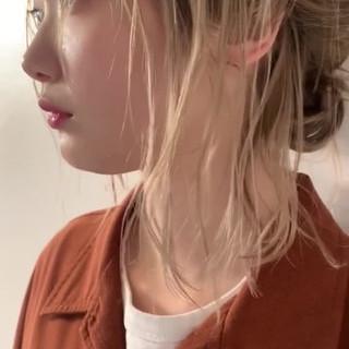 簡単ヘアアレンジ ハイトーンボブ ナチュラル ボブ ヘアスタイルや髪型の写真・画像 ヘアスタイルや髪型の写真・画像