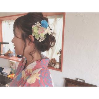 二次会 ヘアアレンジ ミディアム 編み込み ヘアスタイルや髪型の写真・画像