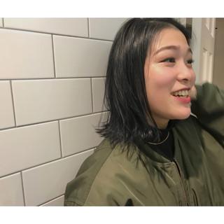 モード ネイビー 暗髪 ブルー ヘアスタイルや髪型の写真・画像