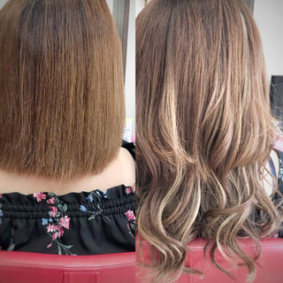 エクステ ハイライト グラデーションカラー エレガント ヘアスタイルや髪型の写真・画像 ヘアスタイルや髪型の写真・画像