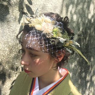 ヘアアレンジ 成人式 卒業式 ショートボブ ヘアスタイルや髪型の写真・画像