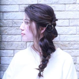 大人女子 編み込み 大人かわいい セミロング ヘアスタイルや髪型の写真・画像