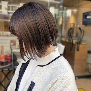 ボブ 透明感カラー ナチュラル ミニボブ ヘアスタイルや髪型の写真・画像