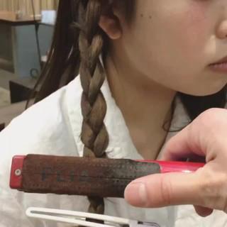ショート 三つ編み ミディアム ウェーブ ヘアスタイルや髪型の写真・画像