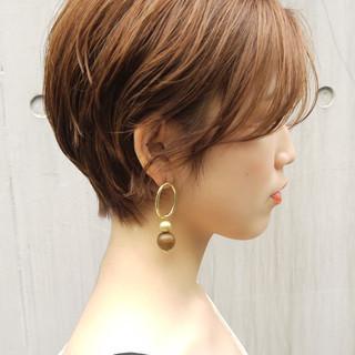 前髪 ナチュラル 丸みショート ショート ヘアスタイルや髪型の写真・画像