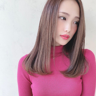 美髪 ストレート 艶髪 内巻き ヘアスタイルや髪型の写真・画像