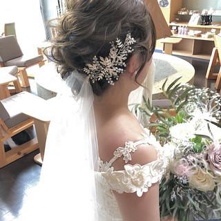 パーティ ヘアアレンジ セミロング 結婚式 ヘアスタイルや髪型の写真・画像