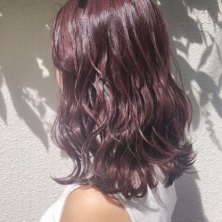 ベージュ ナチュラル ピンク ミディアム ヘアスタイルや髪型の写真・画像