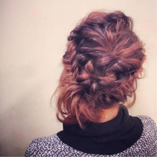 くるりんぱ フィッシュボーン ヘアアレンジ 編み込み ヘアスタイルや髪型の写真・画像 ヘアスタイルや髪型の写真・画像
