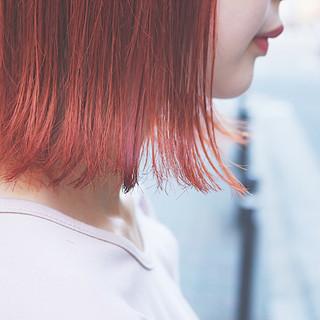 切りっぱなし オレンジ イエロー ハロウィン ヘアスタイルや髪型の写真・画像