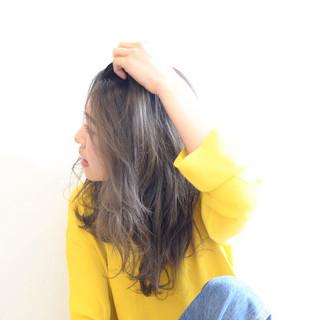 大人女子 ガーリー セミロング ニュアンス ヘアスタイルや髪型の写真・画像