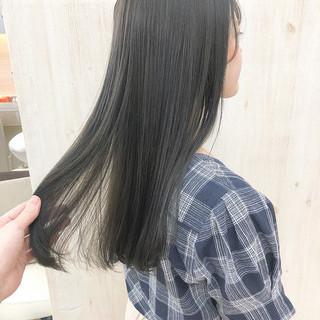 ロング デート ナチュラル ブルーブラック ヘアスタイルや髪型の写真・画像