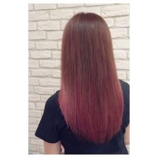 ガーリー セミロング カラーバター ピンク ヘアスタイルや髪型の写真・画像