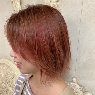 ガーリー オレンジ アプリコットオレンジ 伸ばしかけ ヘアスタイルや髪型の写真・画像
