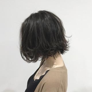 ウェーブ アッシュ ボブ ナチュラル ヘアスタイルや髪型の写真・画像