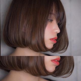 ボブ アンニュイ ハイライト フェミニン ヘアスタイルや髪型の写真・画像