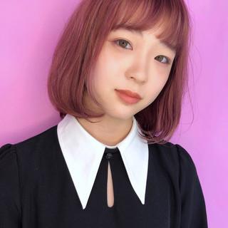 ベリーピンク ピンク ガーリー オルチャン ヘアスタイルや髪型の写真・画像
