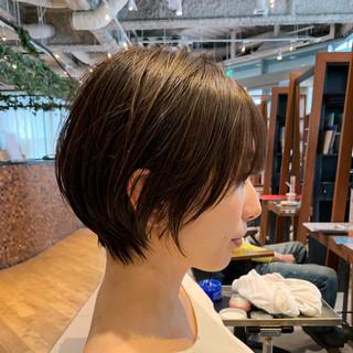 ショート オフィス 大人かわいい ショートボブ ヘアスタイルや髪型の写真・画像