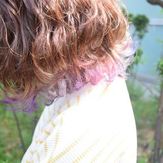 波ウェーブ ボブ フェミニン インナーカラー ヘアスタイルや髪型の写真・画像