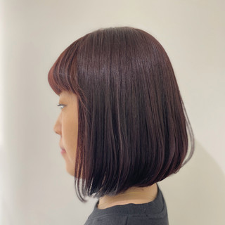 ゆるふわパーマ ボブ ベリーピンク ブリーチなし ヘアスタイルや髪型の写真・画像
