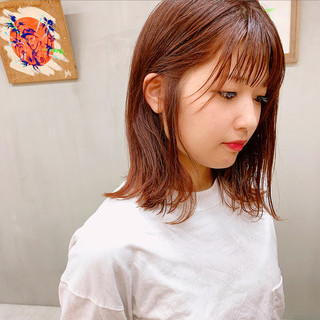 ロブ アプリコットオレンジ オレンジベージュ ミディアム ヘアスタイルや髪型の写真・画像
