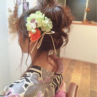 お祭り ヘアアレンジ 編み込み ゆるふわ ヘアスタイルや髪型の写真・画像