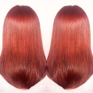 セミロング レッド 渋谷系 ピンク ヘアスタイルや髪型の写真・画像