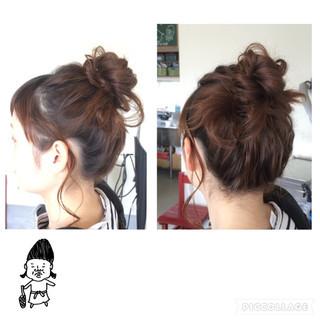 お団子 ヘアアレンジ セミロング ショート ヘアスタイルや髪型の写真・画像