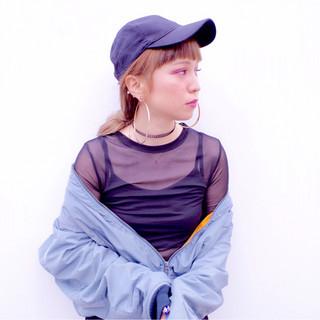ヘアアレンジ ロング キャップ ストリート ヘアスタイルや髪型の写真・画像