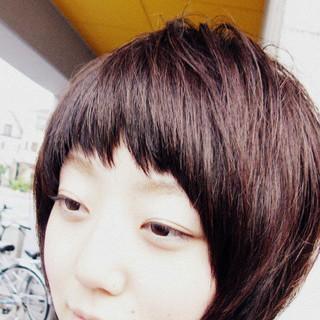 マッシュ ショートボブ ピンクブラウン ガーリー ヘアスタイルや髪型の写真・画像