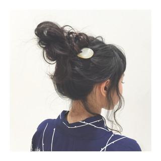 暗髪 ヘアアレンジ ゆるふわ 夏 ヘアスタイルや髪型の写真・画像