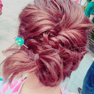 ショート フェミニン ピンク ボブ ヘアスタイルや髪型の写真・画像