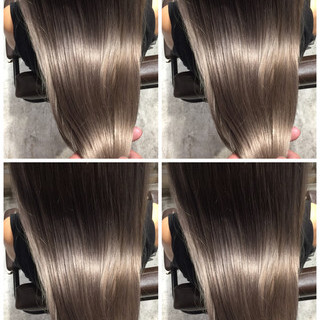グレージュ ナチュラル ロング ハイライト ヘアスタイルや髪型の写真・画像
