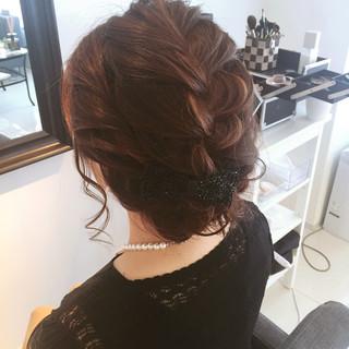 ショート 大人かわいい 簡単ヘアアレンジ 編み込み ヘアスタイルや髪型の写真・画像