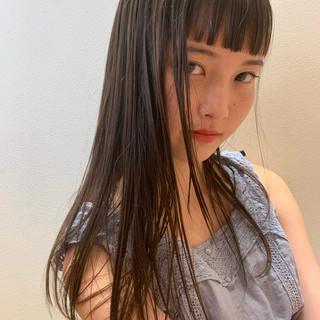 透明感カラー セミロング 透け感ヘア 前髪あり ヘアスタイルや髪型の写真・画像