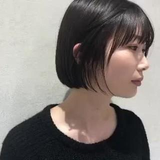 デート ショートヘア ミニボブ 黒髪ショート ヘアスタイルや髪型の写真・画像